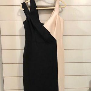 BCBG floor length black & ivory dress